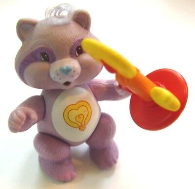 """1984 CARE BEAR COUSINS """"BRIGHT HEART RACCOON """" 3.5"""" JOINTED PVC FIGURE w/ CANDLE"""