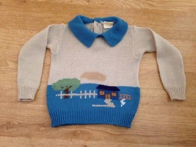 VINTAGE / RETRO JUMPER / SWEATER HOUSE AND TREE FEATURE CHILDS Size M