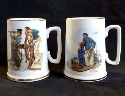 Vintage Norman Rockwell Mug Museum Collection Japan River Sea Set of 2