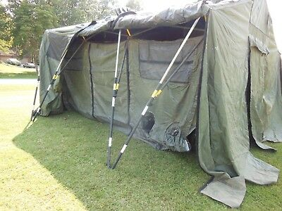 Military Base X  Tent  303  Army Surplus  Canvas  270 Sq-Ft  Has Liner And Floor