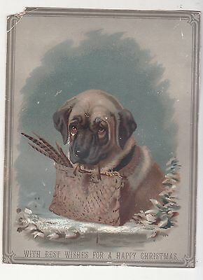 With Best Wishes for Happy Christmas Dog w Pouch Feathers Snow Vict Card c1880s