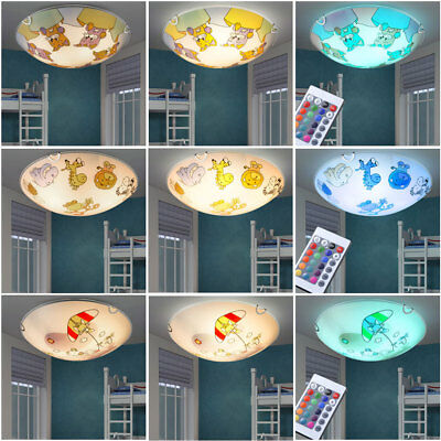LED Ceiling Lights RGB Remote Control Children Room Animal Motif Dimmable