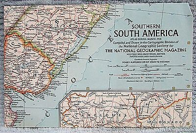 Old 1958 National Geographic Vintage Map Southern South America FREE S/H