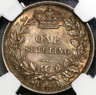 1855 NGC MS 62 Victoria Silver Shilling GREAT BRITAIN Coin (16112702C)