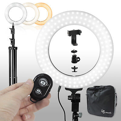 "Photography Dimmable 14"" LED Ring Light Phone Adapter Continuous Lighting"