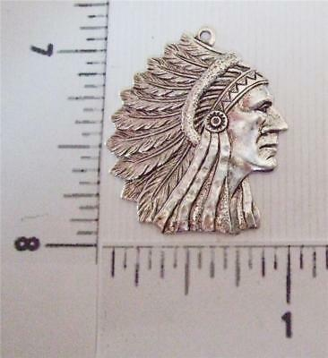 39204         Matte Silver Oxidized American Indian Head Pendant Charm