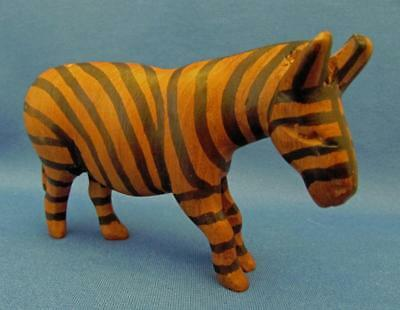Hand Carved Hardwood Zebra Sculpture