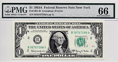 $1 1963A Federal Reserve Note New York S/N B36767266A PMG 66 Gem Unc