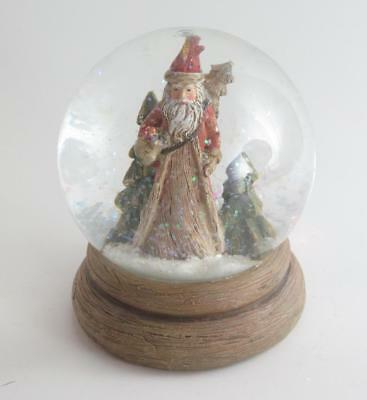 """5"""" Snow Globe Old World Santa Claus Carrying Packages & Tree on Faux Wood Base"""