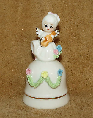 Girl Angel with Guitar and Flowers Bell  4""