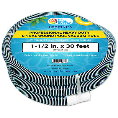 "1-1/2"" x 30 Foot Heavy Duty Spiral Wound Swimming Pool Vacuum Hose, Swivel Cuff"