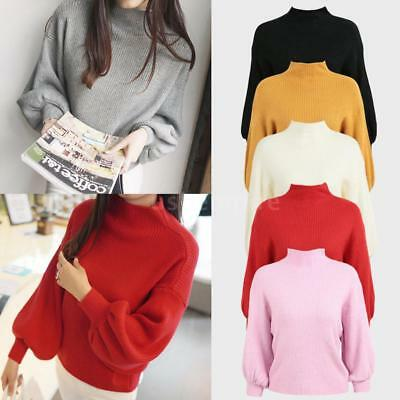 Autumn Women's Warm High Neck Long Sleeve Pullover Knit Sweater Loose Tops X9J6