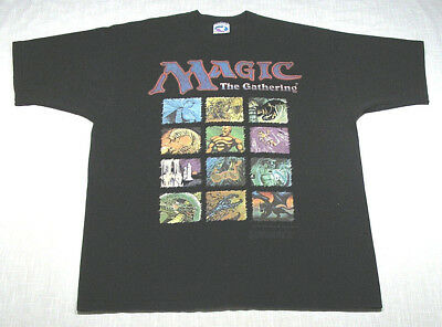 Vtg MAGIC THE GATHERING Gaming T-Shirt (1995) Liquid Blue DUNGEONS + DRAGONS! XL