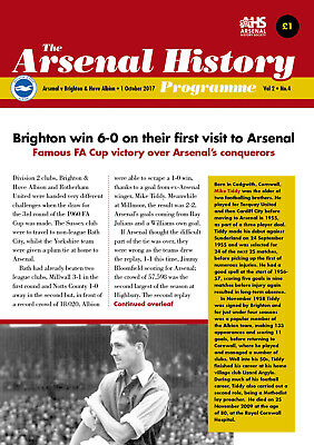 ARSENAL HISTORY PROGRAMME v BRIGHTON & HOVE ALBION - 1 OCTOBER 2017