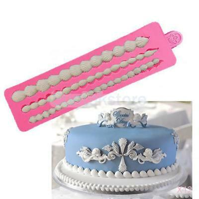 12x DIY 3D Cold Icing Silicone Cake Mold Fondant Deco 3 Strings Shell Bake Mould