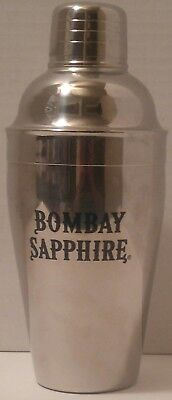 BOMBAY SAPPHIRE Gin 3 PIECE METAL MARTINI SHAKER Bar Accessory BOOZE Liquor 8""