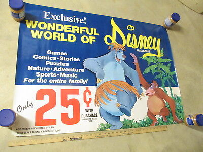 DISNEYLAND Gulf gas station 1968 store display poster JUNGLE BOOK comic book
