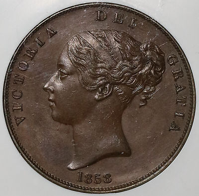 1858 NGC MS 63 Large Date Copper Penny Victoria GREAT BRITAIN Coin (16110102C)