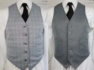 Vtg Mens Single Breast 1970s Grey / Grey Dogtooth Reversible Waistcoat -36- ED83