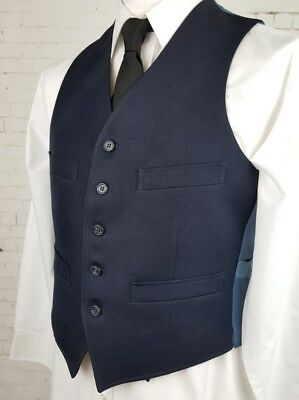 Vtg Mens 1970s Single Breast Blue 4 Pocket Waistcoat -39S- ED93