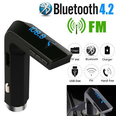 Bluetooth Car Kit Wireless FM Transmitter Dual USB Charger MP3 Player & AUX Port