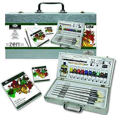 27 Piece Zen Oil Painting Artist Wooden Box Set Brushes Pads Paints Oil3301