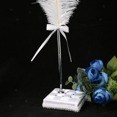 Fancy Ostrich Feather Pens with Stand Wedding Party Reception