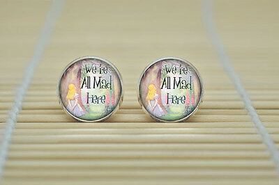 Alice In Wonderland We Are All Mad Here Glass Stud Earrings Silver In Gift Bag