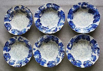 Set of 6 Doulton Burslem Blue Roses Bowls/Dishes (for display only)