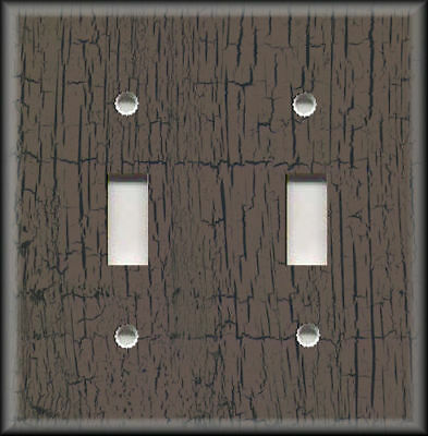 Metal Light Switch Plate Cover - Antique Crackle Paint Design Brown Black