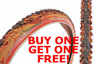 SWEETSKINZ REFLECTIVE 26 x 2.10  MTB OFF ROAD CHUNKY TYRE SCORCH FLAME PATTERN