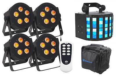 (4) American DJ ADJ 5P-HEX 6-In-1 RGBAW+UV LED DMX Slim Par Lights+Remote+Derby