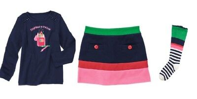 Gymboree Brightest In Class Outfit 4 New Navy Blue Top Colorblock Skort & Socks