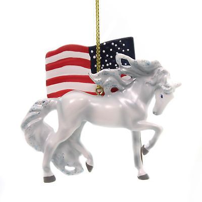 Trail Of Painted Ponies UNCONQUERED ORNAMENT Horse American Flag 4058161