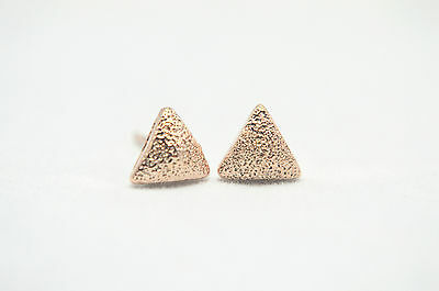 14K/ct Rose Gold PL Matte/Frosted/Textured Curved Geo Triangle Stud Earrings