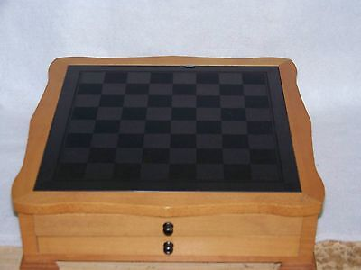 Wooden Chess Set With Glass Top 2 Drawers Made In China Backgammon/craps