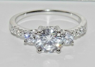 Sterling Silver (925) 1.75ct Ladies Trilogy / Solitaire Engagement Ring - size M