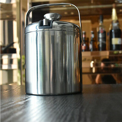 Portable Double Walled Stainless Steel Ice Bucket Wine Bucket With Handle & Lid