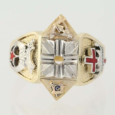 NEW Semi-Mount Masonic Ring - 14k Gold Blue Lodge Shriners Knights Templar