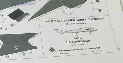 1:50 Modellbogen F-117 A US Stealth Fighter Wilhelmshavener 1628 neuw.