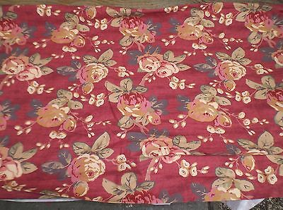 """VERY LARGE PIECE OF VINTAGE LAURA ASHLEY FLORAL FURNISHING FABRIC 10 YARDS x 54"""""""