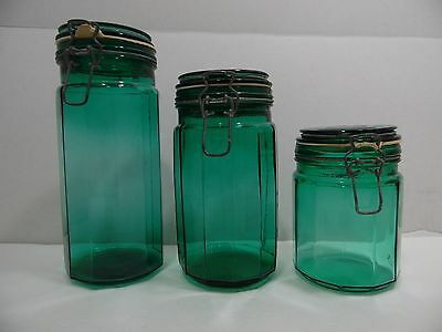 Panel Glass Canisters Emerald Green Set of 3 Locking Bail Lids with Rubber Seal