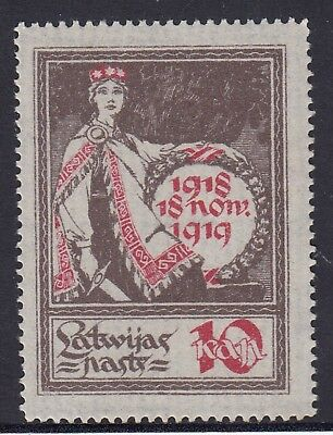 LATVIA 1919 10k ALLEGORY, Laid Paper, Very Fine, Mint Never Hinged