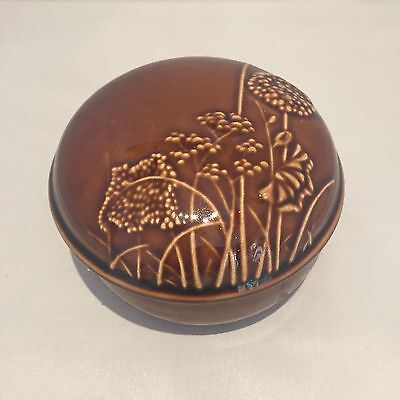 Vintage Retro 1970s 70s 60s Honiton Pottery wildflower design pot with lid dish