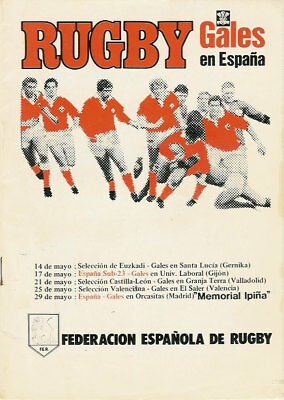 Spain v Wales 29 May 1983 RUGBY PROGRAMME