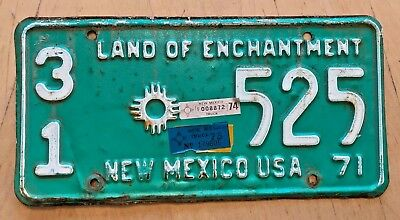 """1971 74 New Mexico Truck License Plate """" 31 525 """" Nm Harding County Roy Mosquero"""