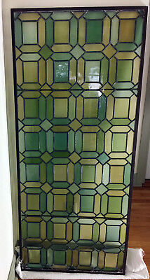 Vintage Decorative Geometric Design Leaded Stained Glass Panel