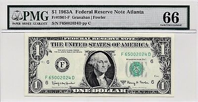 $1 1963A Federal Reserve Note Atlanta S/N F65002024D PMG 66 Gem Unc