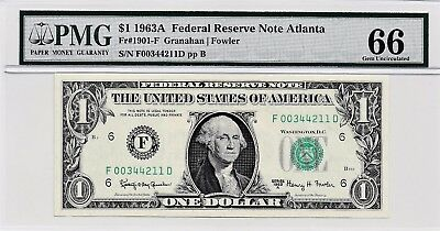 $1 1963A Federal Reserve Note Atlanta S/N F00344211D PMG 66 Gem Unc