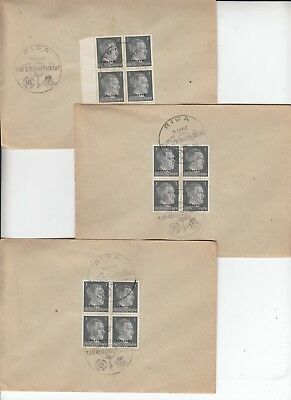 LATVIA 1942 OSTLAND 1pf HITLER block of 4 on 3 souvenir envelopes, RIGA